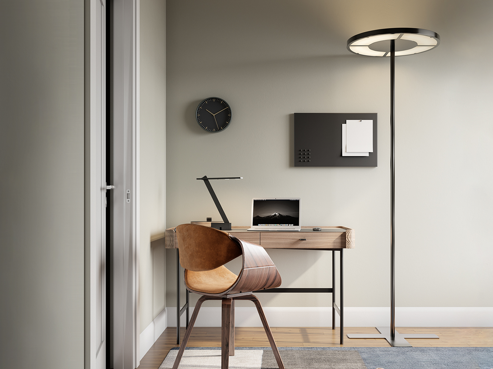 ROTONDA floor lamp and NASTRINO PICO table lamp in a bright home office.