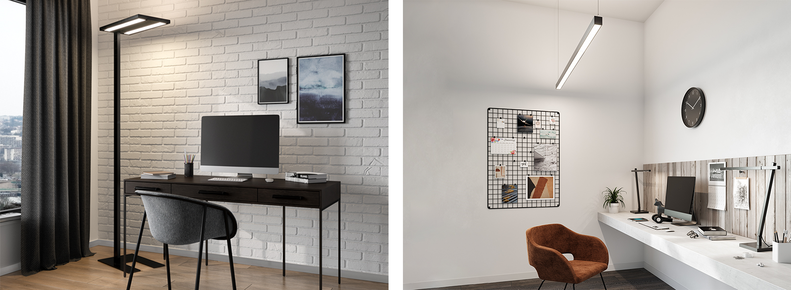 Two home-office images with byok lamps Campo, Linea and Squadrina